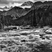 Rapids of the Mistaya River with a Mountain Backdrop (Black & White, Banff National Park)