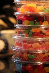 How are things stacking up? (MomOfJasAndTam) Tags: colour color colours candies stack jujubes worms bonbons gummi gummibears gummyworms candy sugar jelly containers sweet sweets
