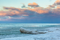 sunset over ice (john dusseault) Tags: winter landscape ice water lakehuron greatlakes frozen sunset clouds sky ontario canada