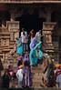 Splashes Of Colour (peterkelly) Tags: digital canon 6d india asia khajuraho kamasutratemple stone sandstone colors colours colour color carvings blue purple women column steps stairs saris sari