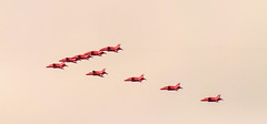 Flypast, flying past (sbisson) Tags: london aircraft flight jet formation raf putney troopingthecolour flypast royalairforce baehawk theredarrows
