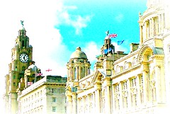 2015-Liver birds & flags (Art&Music*Woo-Hoo) Tags: liverpool liverbirds merseyside royalliverbuilding 3graces portofliverpoolbuilding cunardbuilding picmonkey2015eireukus