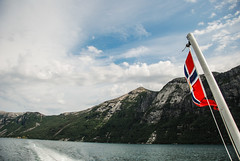 Lysefjord (Karol Majewski) Tags: cliff water ferry clouds landscape stavanger norge sailing flag prom valley edge fjord scandinavia dolina woda rogaland lysefjord lysefjorden klif chmury ryfylke flaga krajobraz norwegia skandynawia forsand