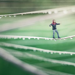 A Fine Line (MAR_S_) Tags: boy selfportrait green thread rain miniature drops bright surrealism fineart surreal line jacket selfportait fineartphotography photoproject surrealphotography surrealportraiture joelrobison wonderweeks