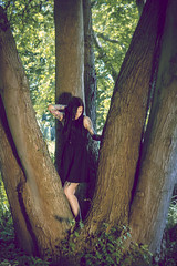 thank you for being that kind of girl (Prima Wetter) Tags: wood portrait woman black girl forest hair outdoor gothic goth tattoos fairy sleeve irina