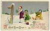 A Glad New Year - vintage postcard (Rescued by Rover) Tags: new year card vintage edwardian greeting glad children snow signpost sledge toboggan holly child boy girl play saltoun poem rhyme