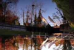 reflection (amazingstoker) Tags: basingstoke canal odiham hampshire bridge lifting trees railing barrier lamppost counter balance weight surreal strange reflection winter light