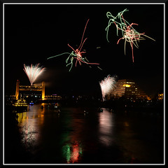 Fireworks_9192 (bjarne.winkler) Tags: 2016 new year evening pre fireworks 9pm backdrop tower bridge ziggurat calstrs building sacramento river ca