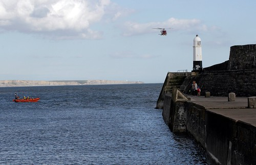 Porthcawl Lifeboat with Coastguard Helicopter 187