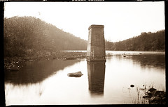 Karlos at the Bridge (DRCPhoto) Tags: karlos pinhole lenslessphotography karl richards kodakbw400cn lightroom westvirginia cheatriver
