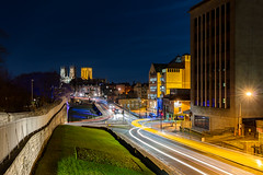 Colours of York (shaunpconway) Tags: night light colour york uk yorkshire trails walls minster urban landscape yellow blue white