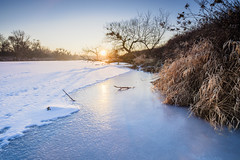 Frozen River At Sunset (Canoneer79) Tags: river water landscape frost frozen shore fuji x
