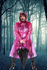 In the depth of the wood. (smmack) Tags: wood wet pink plastic pvc hooded mac