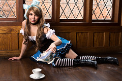 Alice at the Steam Punk Couture At Castle McCulloch shoot (Ardias) Tags: girl pretty cute cosplaygirl aliceinwonderland stockings smile bestportraitsaoi