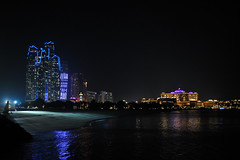 Etihad Towers and Emirates Palace at Night (Gabriel Bussi) Tags: abu dhabi united arab emirates emiratos arabes unidos vereinigte arabische emirate units uniti etihad towers palace