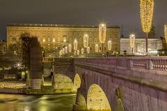 Stockholm Royal Palace (Stefan Sjogren) Tags: stockholm christmas decorations royal palace bridge norrbro old town night blue hour helgeandsholmen sweden slott palats canon eos 6d