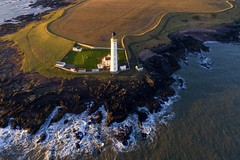 Scurdie Ness lighthouse from the air (iancowe) Tags: scurdie ness lighthouse scurdieness aerial drone dji phantom 4 pro scotland scottish nlb northernlighthouseboard ferryden angus stevenson river esk estuary mouth north sea