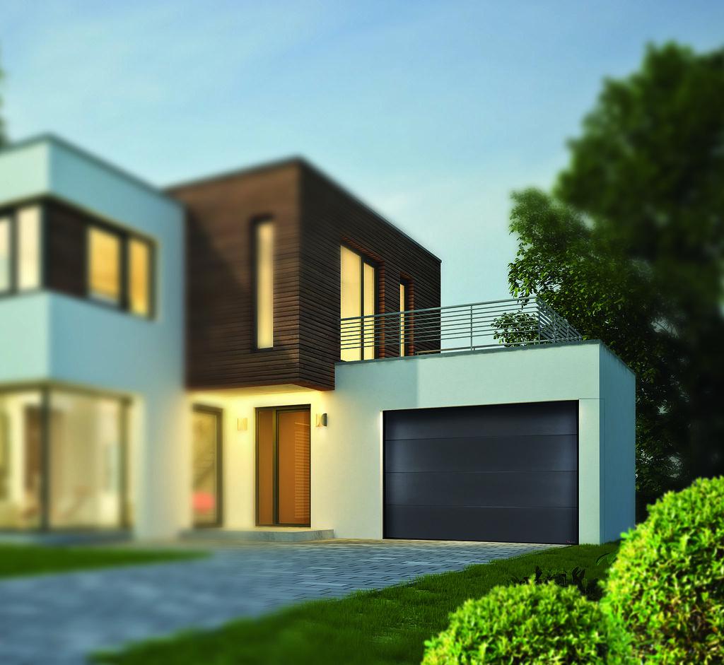 Haus kubus mit holzelementen am abend aludoor tags architektur haus einfamilienhaus immobilie auffahrt