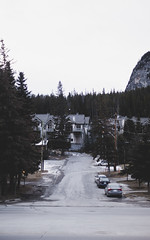 (tCravis W.) Tags: morning house mountain snow canada forest early nobody lane banff steamraving