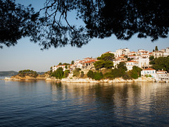 Old Port - Skiathos Town (davepickettphotographer) Tags: old morning travel houses sea summer tourism port island greek photography early town seaside europe rooftops earlymorning warmth eu olympus roofs greece seafront skiathos moorings em1 esystem olympuscamera