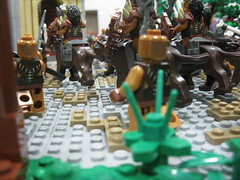 The Orc Horde Attacks! (bluenynja808) Tags: door trees cliff castle leaves rock wall army climb sand gate lego helmet attack run medieval foliage elf fantasy rush warrior shield bone arrow ladder archer ax stronghold defense horde orc elves spear plume defend ballista swordsman berzerker outnumbered brickforge brickwarriors