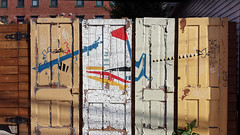 Pittsburgh fence (real00) Tags: abstract creativereuse fence geometric graffiti neighborhood pittsburgh quirky rustbelt streetscene urban urbanfragment urbanlandscape urbanmicroscape wall