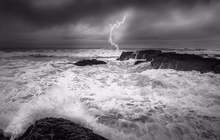 Struck by the lightning, crushed by a wave!