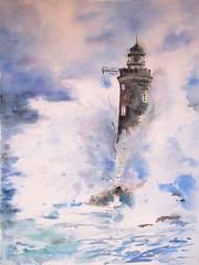 La mer n°12 (geneterre69) Tags: mer océan aquarelle tempête bleu phare