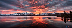 Red Skies Over Derwent Water (Dave Massey Photography) Tags: derwentwater keswick sunset dusk sky clouds mountains catbells snow lake district cumbria england