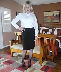 By Request (krislagreen) Tags: tg tgirl transgender transvestite cd crossdress skirt hose thighhighs blouse femme feminized feminization blond