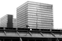 By climbing (pascalcolin1) Tags: paris13 bnf escaladant escalade climbing toit roof toiture photoderue streetview urbanarte noiretblanc blackandwhite photopascalcolin