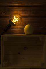 apple electric background (Antonio MalaMente) Tags: apple background wood lightbulb black bulb idea light edison table lamp incandescent vintage dark wooden bright power electric electricity floor retro filament glow art old space tungsten