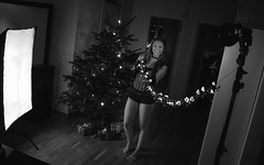 Caroline (Thomas Ohlsson Photography) Tags: blonde carolineholmberg christmas christmastree corset flash lightpaint pentaxk01 redcorset smcpentaxda21mmf32allimited strobist swedishmodel thomasohlssonphotography thomasohlssoncom