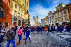 Old Town Square in Prague, Czech Republic (` Toshio ') Tags: toshio prague czechrepublic czechia oldtownsquare churchofourladybeforetýn church people december christmasmarket europe european europeanunion cobblestone fujixe2 xe2
