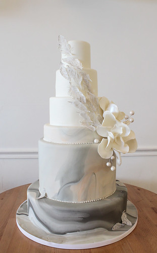 Marbled Fondant and Feathers Wedding Cake