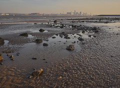 Liverpool from across the water (Maggie's Camera) Tags: liverpool newbrighton beach sand stones water colours pinkhaze merseyside wirral december2016