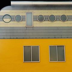 by the sea VII (msdonnalee) Tags: house haus dom casa maison yellow jaune gelb amarelo amarillo home housedetail architecturaldetail architecture window facade facciate façade fachada donnacleveland giallo porthole uniquehouse