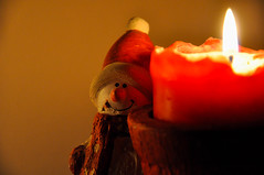"Day 20/365 - ""Snowman"" (Little_squirrel) Tags: 365the2017edition 3652017 day20365 20jan17 snowman candle light warmth warmplace home"