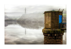 Ogden Reservoir (Explored) (Missy Jussy) Tags: ogden reservoir ogdenreservoir rochdale landscape lancashire land northwest england clouds hills pylon buildings tower water reflections sunlight canon canon5dmarkll trees fields