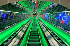 Escalator in Helsinki university metro station H.D.R. (ec1jack) Tags: green station june suomi finland lights helsinki europe university neon midsummer metro escalator helsingfors hdr 2015 kierankelly ec1jack canoneos600d