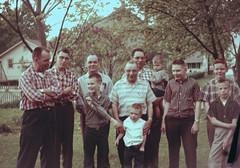 Family Portrait: The Dinda Men (joeldinda) Tags: family sky building tree film dan me june yard fence john paul michigan joel slide scanned karl relatives roger relative argus 1960 c3 rogerdinda vickery 2891 june60 ektachrometransparency