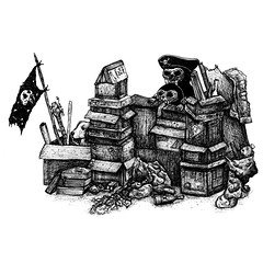 colmi-piratas (SICKDC) Tags: dog black illustration pen ink diy perro pirate tinta piratas ilustracin fanzine htm colmillo