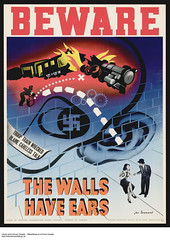BewareThe Walls Have Ears (propaganda for the security of Canada's army) /  Prudence, les murs ont des oreilles.  (propagande pour la scurit de lArme canadienne) (BiblioArchives / LibraryArchives) Tags: woman ontario canada man wall train poster beware propaganda femme ottawa nazi wwii lac security worldwarii ear bomb mur oreille homme bombe affiche bac secondworldwar scurit libraryandarchivescanada deuximeguerremondiale wartimeinformationboard bibliothqueetarchivescanada lacommissiondelinformationdeguerre jacleonard