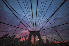 Sunset, Symmetry and Synergy (gimmeocean) Tags: nyc newyorkcity sunset ny newyork skyline brooklyn manhattan symmetry cables brooklynbridge ultrawideangle treyratcliff treyusa