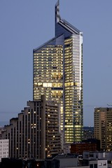 First Tower at dusk - La Dfense (7833) (cfalguiere) Tags: building hautsdeseine iledefrance dusk tourfirst ladfense skyscraper lesdamiers quartiersaisons esplanadenord bluehour datepub2015q308 contemporaryarchitecture