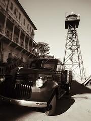 Watchtower (Feldore) Tags: alcatraz watchtower vintage car prison san francisco california feldore mchugh em1 olympus 1240mm sepia