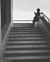 Shadow (nashwasafian) Tags: shadow black white stair person human girl sky space colorless huawei air december morning
