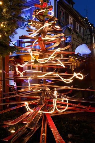 Sapin de Noël en skis à Colmar