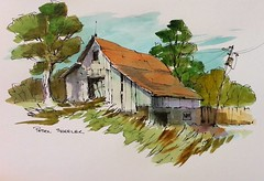 """Classic Barn"" Line and wash watercolor video . (Peter Sheeler) Tags: video youtube youtubers landscape art original watercolor winsorandnewton watercolour painting paintingaday penandink architecture ink moleskine canada waterbrush arches lamy uniball higgins fountain soluble buildings country farm barn rural"
