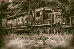 Traveling On (SunnyDazzled) Tags: train csx summer railroad tracks mono sepia traveling nostalgia movement